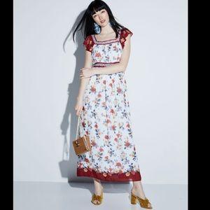 Max Studio Floral-Print Flutter-Sleeve Maxi Dress